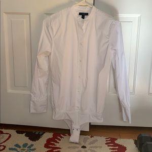 Button down white body suit